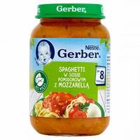 Gerber piure Spaghetti în sos de roșii cu mozzarella 8+ luni, 190 g