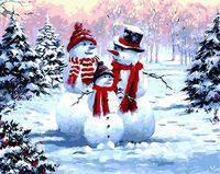 GX8339 Oameni de zăpadă, 40х50 cm, pictură pe numere