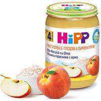 Piure de mere, piersici cu orez Hipp (4 luni+), 190g