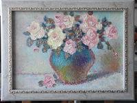 Натюрморт с розами, 30x42 см, холст, масло