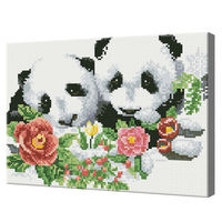 Панды в цветах, 30x40 см, алмазная мозаика Артукул: QS200541