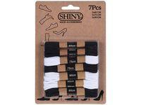 Набор шнурков 7пар (4черных, 3белых) хлопок