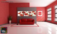 Картина напечатанная на холсте - Триптих красные маки  0002