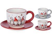 Чашка рождественская 250ml с блюдцем Гномы, керамика, 2 цвет