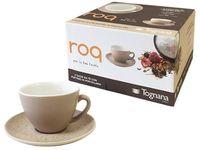 Set cani 4buc 180ml pentru ceai cu farfurii Roq Beige, in cutie cadou