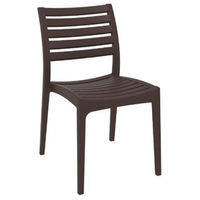 купить Стул из пластика с горизонтальной решеткой на спинке и сиденье, коричневый в Кишинёве