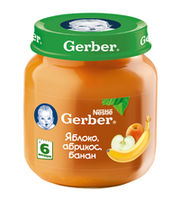 Gerber пюре яблоко, абрикос и банан 6+мес. 130г