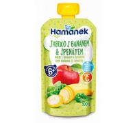 Пюре Hamanek яблоко, бананы и шпинат с 6 месяцев, 120г