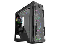 Case ATX GAMEMAX Optical, w/o PSU, 4x120mm ARGB  fans, Fan controller, Transparent, USB3.0, Black