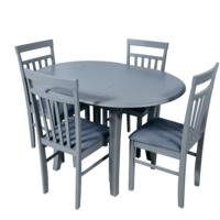 Комплект раздвижных столов T449E серый + 4 стула 66-1 серый