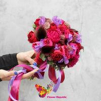 купить Яркий букет невесты цвета фуксии в Кишинёве