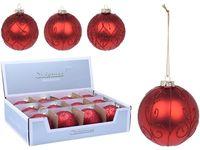 Decor brad  Ornament 80mm, sticla, rosu, 3 modele
