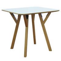 купить Деревянный квадратный стол с деревянными ножками и металлической подставкой 800x800x750 мм, белый в Кишинёве