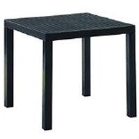 Квадратный стол из пластика и ножками из металла 800х800х750 мм, черный