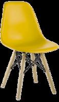 cumpără Scaun din plastic cu picioare de lemn cu suport metalic, 500x460x450x820 mm, galben în Chișinău