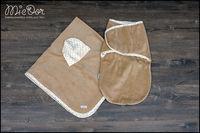 Набор Mi-e Dor велюровый (плед,кокон на липучках, шапочка) коричневый