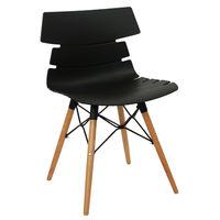 купить Пластиковый стул, деревянные ножки с металлической опорой 510x500x810 мм, черный в Кишинёве