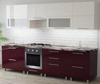 Bucătărie Bafimob Blum (High Gloss) 2.8m Beige/Bordo