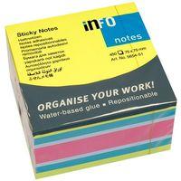 Info Notes Бумага клейкая INFO 75x75мм/4цв., 450 листов, куб неон