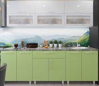 Кухонный гарнитур Bafimob Modern (High Gloss) 1.8m glass White/Green