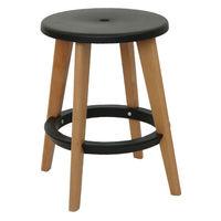 Пластиковый стул, деревянные ножки 335x455 мм, черный