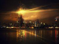 Картина напечатанная на холсте - Абстрактный город 0021 / Печать на холсте