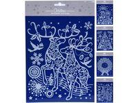 Набор новогодних наклеек 30X21cm, голубой, 4 дизайна