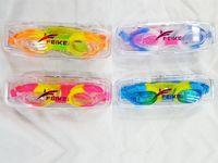 Очки для плавания детские неон, в футляре+беруши