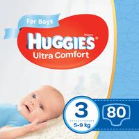 Подгузники для мальчиков Huggies Ultra Comfort 3 (5-9 kg), 80 шт.