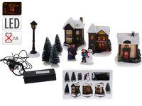 Набор рождественский LED: 3дома+4дерева+фонарь+2фигуры