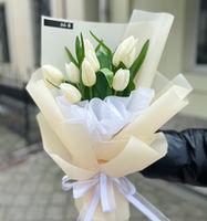 Букет из 11 белых тюльпанов