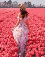 Pictura pe numere 40x50 Fată într-un câmp de flori VA1224