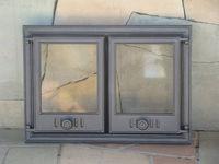 Дверца чугунная со стеклом двустворчатая Halmat - DCHP3