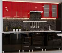 Bucătărie Bafimob Iulia (High Gloss) 2.6m Black/Red
