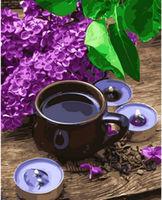 Pictura pe numere 40x50 Cafea si liliac VA1955