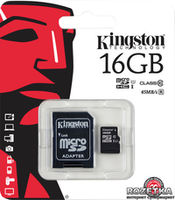 Kingston microSDHC 16Gb (Class10 UHS-I) with adaper MicroSD>SD SDC10G2