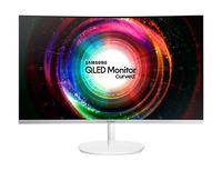 "32.0"" SAMSUNG ""C32H711QEI"", White (Curved-VA Q-LED 2560x1440, 4ms, 300cd, Mega DCR, mini-DP+HDMI) (31.5"" Curved VA QLED, 2560x1440 WQHD, 4ms (GtG), 300 cd/m², Mega DCR (3000:1), 100% sRGB 16.7M Colors, 178°/178° @CR>10, mini-DisplayPort + HDMI-MHL, Stereo Audio-In, Headphone-Out, USB 3.0 x4-Hub, External Power Adapter, Fixed Stand (Tilt -2/+15°), AMD Freesync, MagicBright, MagicUpscale, Eye Saver Mode, Flicker Free, Metallic Silver / White)"