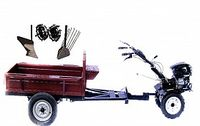 Set motocultivator TECHNOWORKER HB 700RS PRO+Remorca RK500 + plug simplu + plug cartofi + roti metalice 4*8