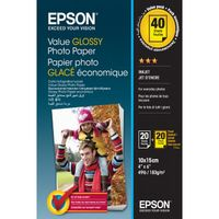 EPSON Value Glossy Photo Paper, 10x15cm BOGOF