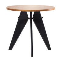 Masă din lemn natural cu picioare negre metalice, 1080x1080x120 mm