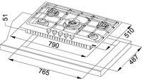 Plită incorporabilă cu gaz Franke FHNE 805 4G TC XS C