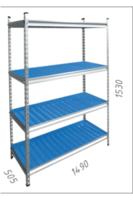 cumpără Raft metalic galvanizat cu placă din plastic Gama Box  1490Wx505Dx1530H mm, 4 polițe/PLB în Chișinău