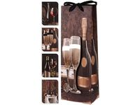 """Пакет подарочный для бутылки """"Вино и виноград"""" 36X13X8.5"""