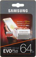 Samsung EVO Plus 64GB MicroSD (Class 10). UHS-I (U3)+SD adapter,