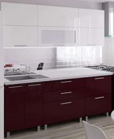 Bucătărie Bafimob Blum (High Gloss) 2.0m White/Bordo