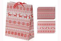 cumpără Punga pentru cadouri de Craciun alb-rosie 23X18X8cm în Chișinău