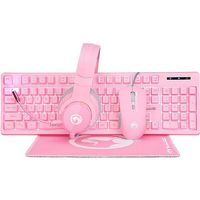 MARVO CM418 Gaming Combo Keyboard+Mouse+Mouse Pad+Headset, Pink