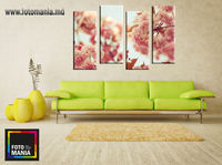 Картина напечатанная на холсте - Триптих из 4 частей Цветы 0011 / Печать на холсте
