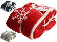 Плед рождественский Снежинка 150Х130сm, флис, красный, синий