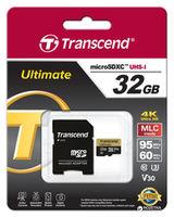Transcend 32GB MicroSD (Class 10). UHS-I (U3) +SD adapter.